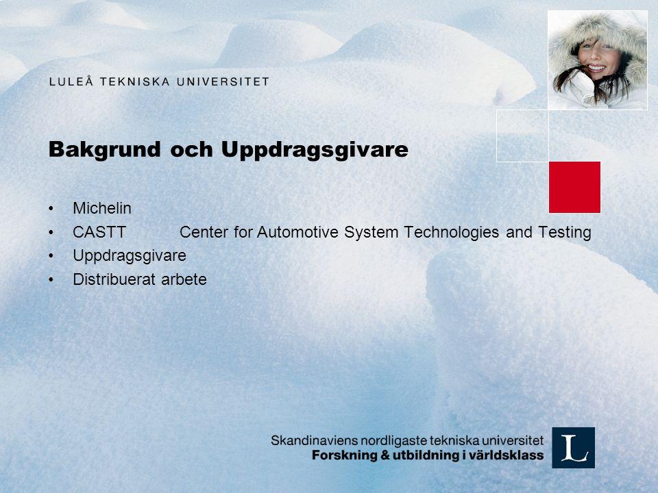 Bakgrund och Uppdragsgivare Michelin CASTTCenter for Automotive System Technologies and Testing Uppdragsgivare Distribuerat arbete