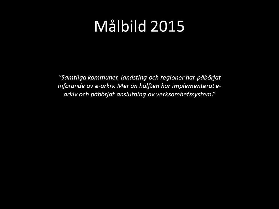 """Målbild 2015 """"Samtliga kommuner, landsting och regioner har påbörjat införande av e-arkiv. Mer än hälften har implementerat e- arkiv och påbörjat ansl"""