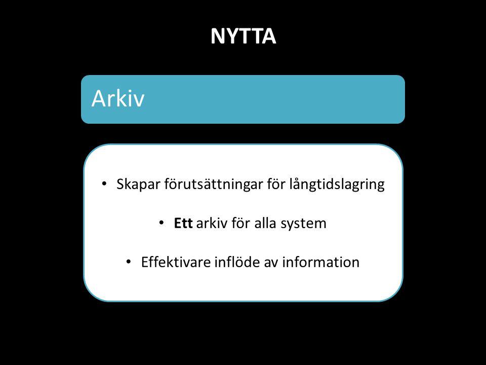 NYTTA Arkiv Skapar förutsättningar för långtidslagring Ett arkiv för alla system Effektivare inflöde av information