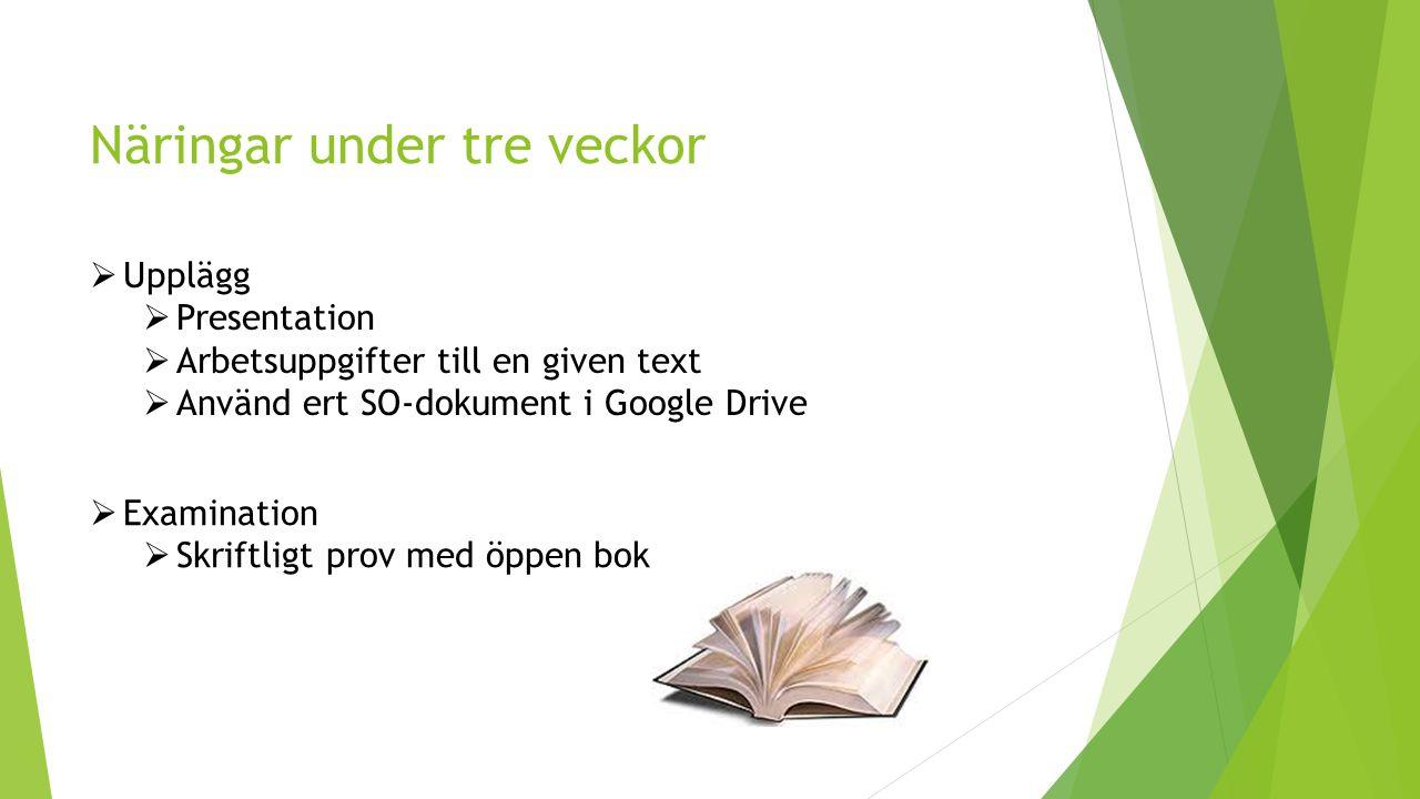 Näringar under tre veckor  Upplägg  Presentation  Arbetsuppgifter till en given text  Använd ert SO-dokument i Google Drive  Examination  Skriftligt prov med öppen bok