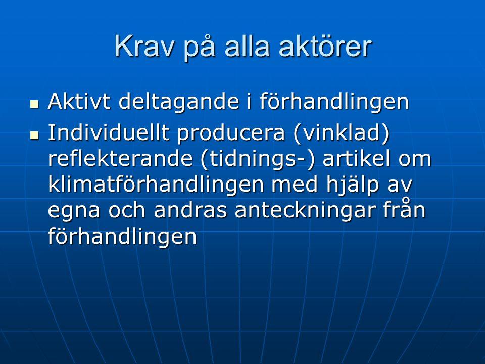 Krav på alla aktörer Aktivt deltagande i förhandlingen Aktivt deltagande i förhandlingen Individuellt producera (vinklad) reflekterande (tidnings-) artikel om klimatförhandlingen med hjälp av egna och andras anteckningar från förhandlingen Individuellt producera (vinklad) reflekterande (tidnings-) artikel om klimatförhandlingen med hjälp av egna och andras anteckningar från förhandlingen