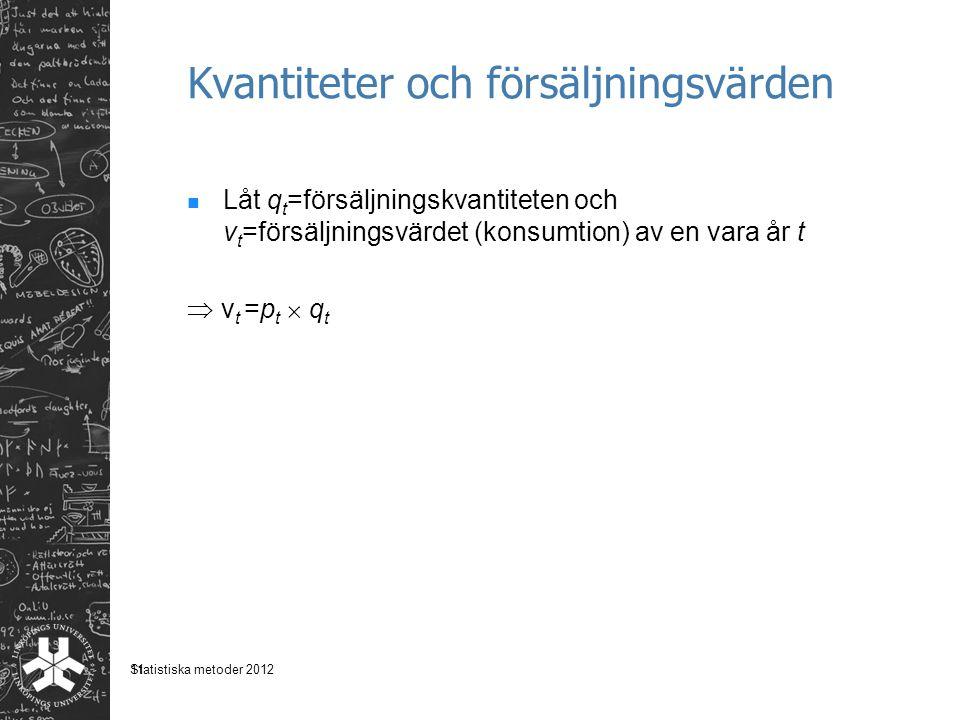 11 Kvantiteter och försäljningsvärden Låt q t =försäljningskvantiteten och v t =försäljningsvärdet (konsumtion) av en vara år t  v t =p t  q t Statistiska metoder 2012