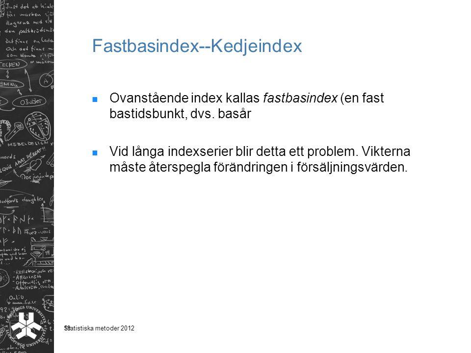 19 Fastbasindex--Kedjeindex Ovanstående index kallas fastbasindex (en fast bastidsbunkt, dvs. basår Vid långa indexserier blir detta ett problem. Vikt