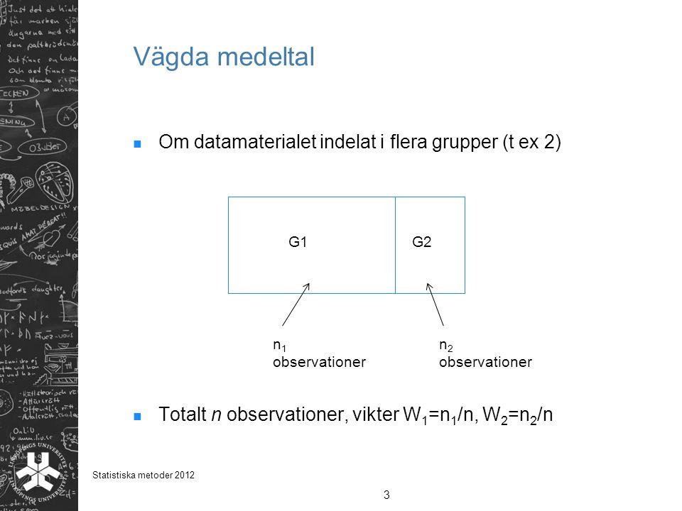 Om datamaterialet indelat i flera grupper (t ex 2) Totalt n observationer, vikter W 1 =n 1 /n, W 2 =n 2 /n Vägda medeltal 3 Statistiska metoder 2012 G1G2 n 1 observationer n 2 observationer