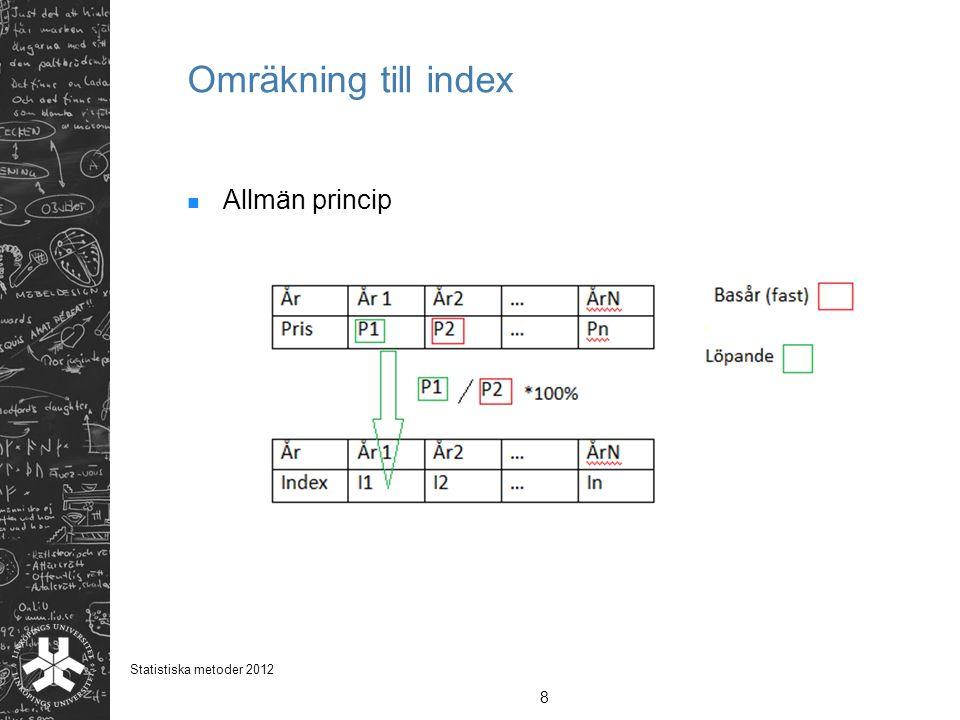 Omräkning till index Allmän princip 8 Statistiska metoder 2012