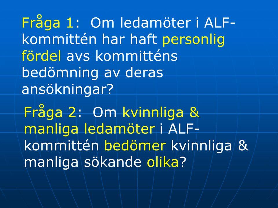 Fråga 1: Om ledamöter i ALF- kommittén har haft personlig fördel avs kommitténs bedömning av deras ansökningar? Fråga 2: Om kvinnliga & manliga ledamö