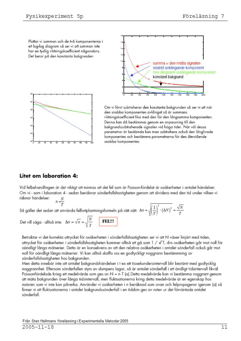 Fysikexperiment 5p Föreläsning 7 2005-11-18 11 Från Sten Hellmans föreläsning i Experimentella Metoder 2005