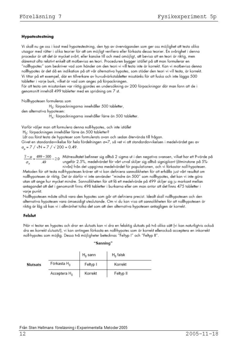 Föreläsning 7 Fysikexperiment 5p 12 2005-11-18 Från Sten Hellmans föreläsning i Experimentella Metoder 2005