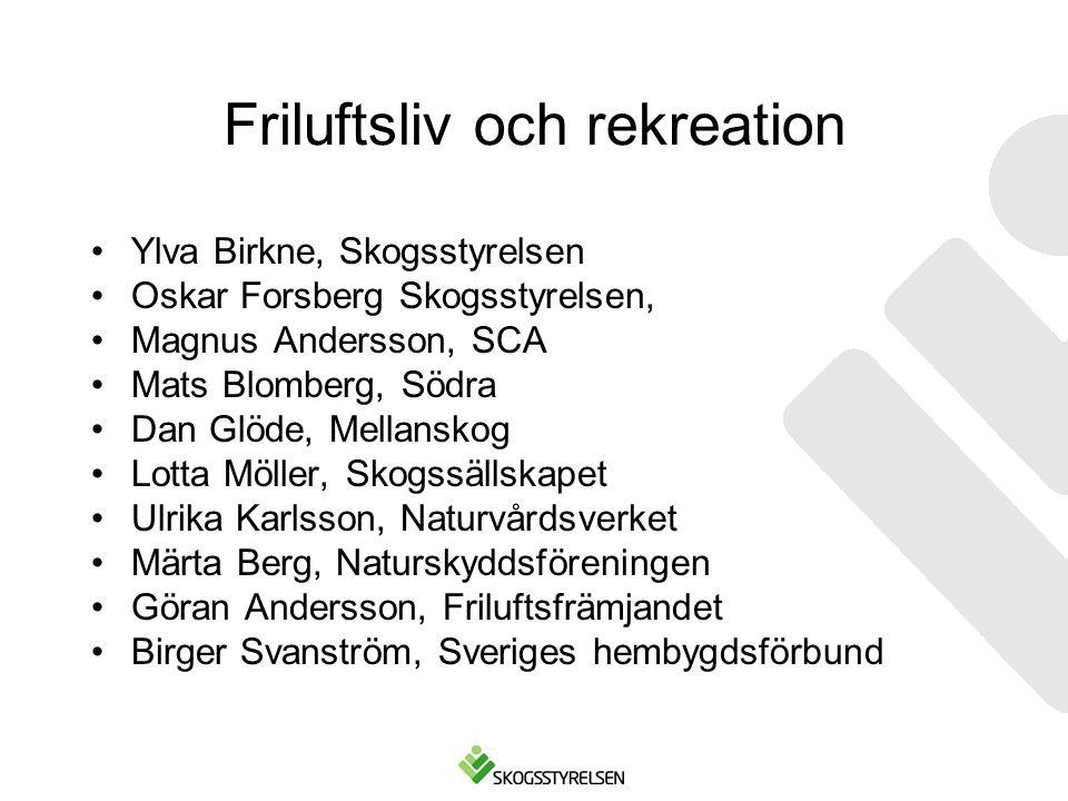 Friluftsliv och rekreation Ylva Birkne, Skogsstyrelsen Oskar Forsberg Skogsstyrelsen, Magnus Andersson, SCA Mats Blomberg, Södra Dan Glöde, Mellanskog