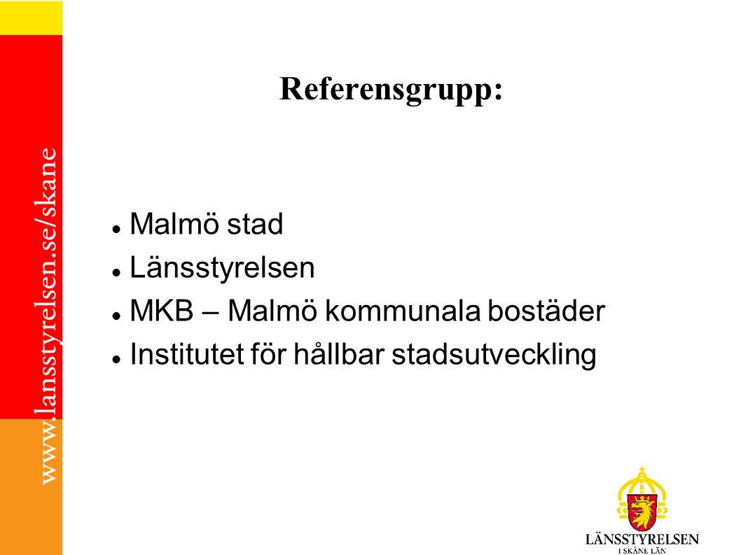 Referensgrupp: Malmö stad Länsstyrelsen MKB – Malmö kommunala bostäder Institutet för hållbar stadsutveckling