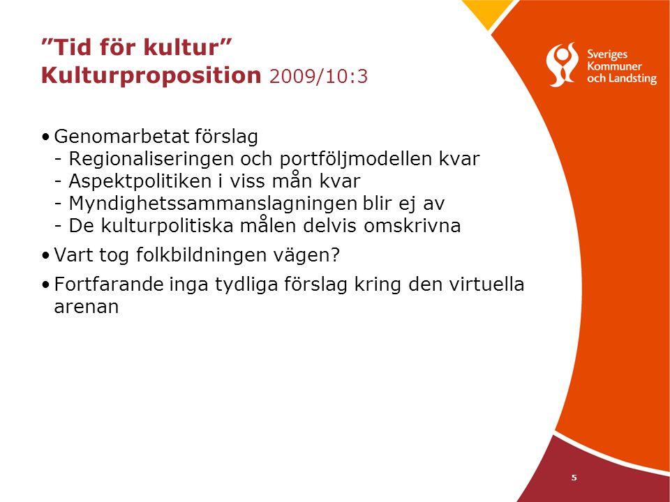 5 Tid för kultur Kulturproposition 2009/10:3 Genomarbetat förslag - Regionaliseringen och portföljmodellen kvar - Aspektpolitiken i viss mån kvar - Myndighetssammanslagningen blir ej av - De kulturpolitiska målen delvis omskrivna Vart tog folkbildningen vägen.