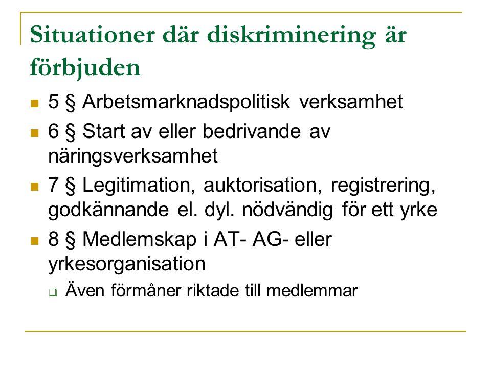 Situationer där diskriminering är förbjuden 5 § Arbetsmarknadspolitisk verksamhet 6 § Start av eller bedrivande av näringsverksamhet 7 § Legitimation,