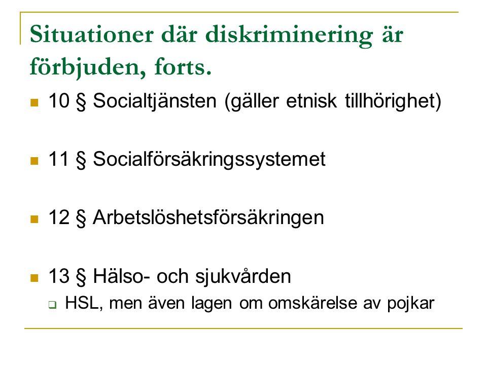 Situationer där diskriminering är förbjuden, forts. 10 § Socialtjänsten (gäller etnisk tillhörighet) 11 § Socialförsäkringssystemet 12 § Arbetslöshets