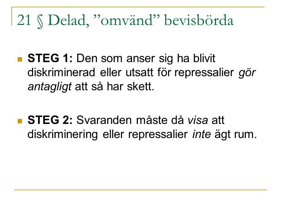 """21 § Delad, """"omvänd"""" bevisbörda STEG 1: Den som anser sig ha blivit diskriminerad eller utsatt för repressalier gör antagligt att så har skett. STEG 2"""