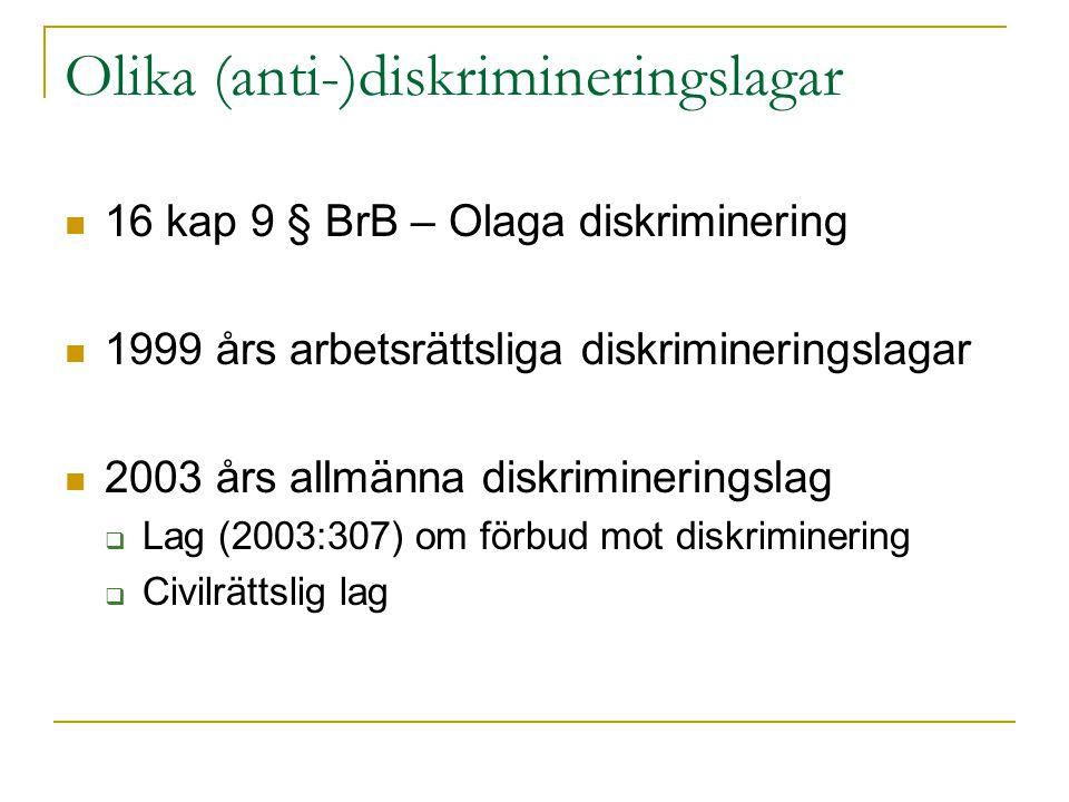 Olika (anti-)diskrimineringslagar 16 kap 9 § BrB – Olaga diskriminering 1999 års arbetsrättsliga diskrimineringslagar 2003 års allmänna diskriminering