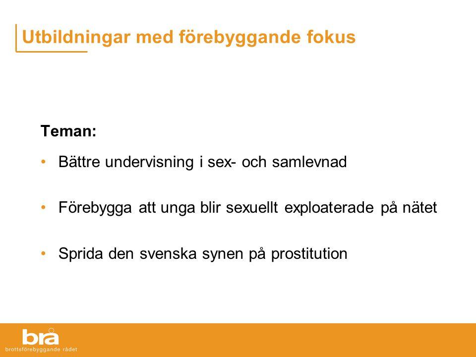 Utbildningar med förebyggande fokus Teman: Bättre undervisning i sex- och samlevnad Förebygga att unga blir sexuellt exploaterade på nätet Sprida den svenska synen på prostitution