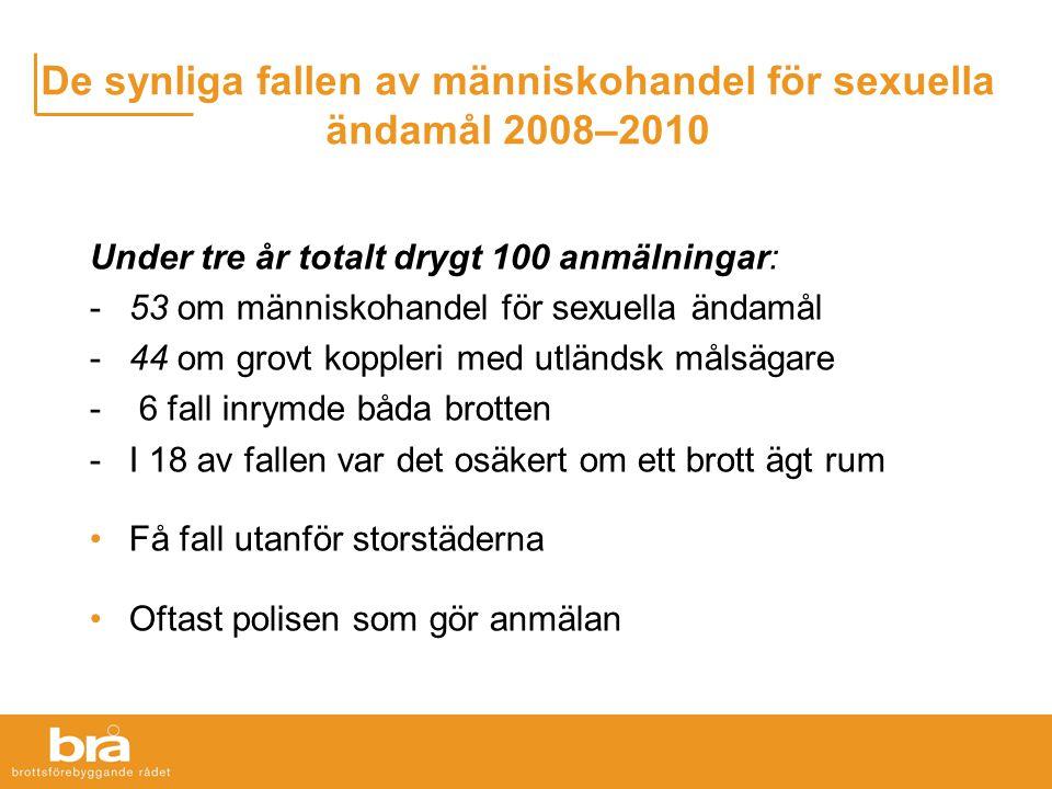 De synliga fallen av människohandel för sexuella ändamål 2008–2010 Under tre år totalt drygt 100 anmälningar: -53 om människohandel för sexuella ändam