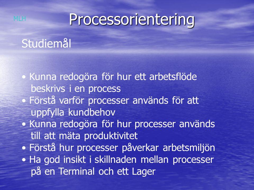 Processorientering Studiemål Kunna redogöra för hur ett arbetsflöde beskrivs i en process Förstå varför processer används för att uppfylla kundbehov Kunna redogöra för hur processer används till att mäta produktivitet Förstå hur processer påverkar arbetsmiljön Ha god insikt i skillnaden mellan processer på en Terminal och ett Lager MLH