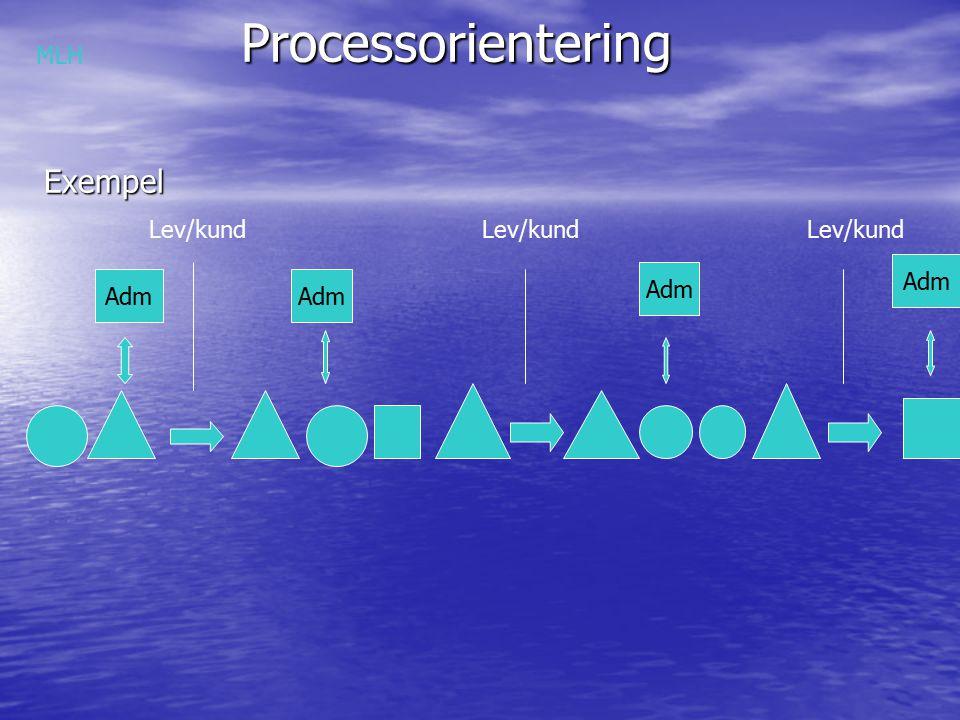 Processorientering ProcessorienteringExempel Adm Lev/kund MLH