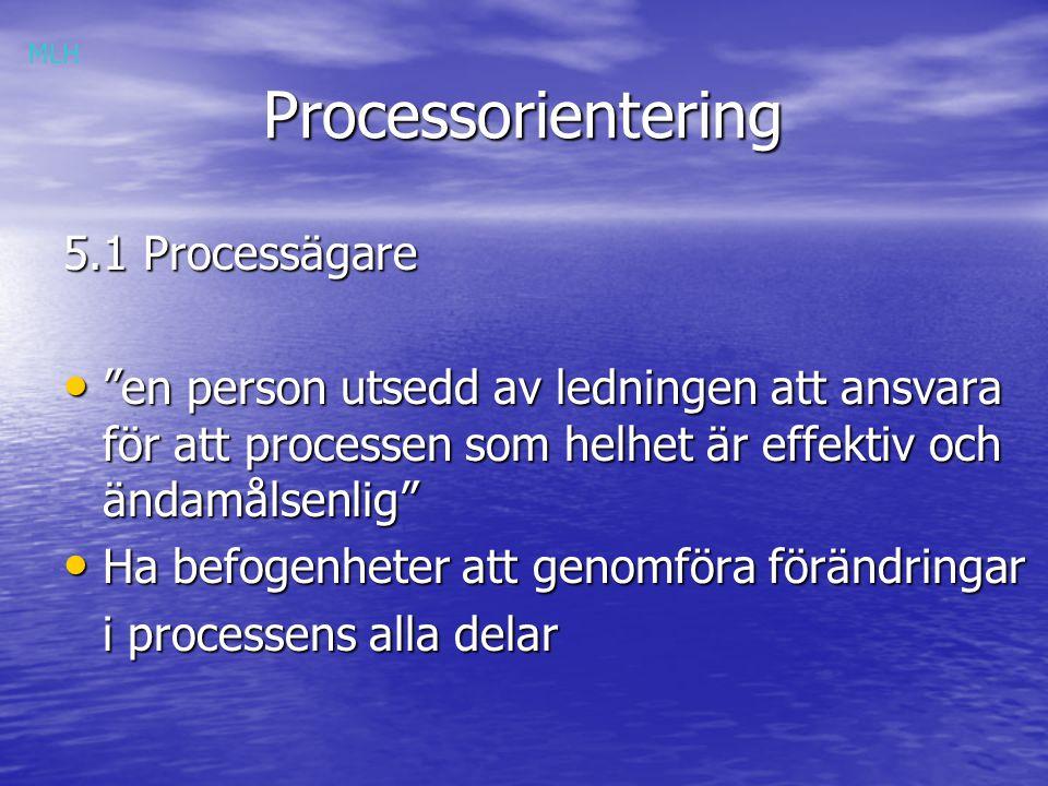 Processorientering Processorientering 5.1 Processägare en person utsedd av ledningen att ansvara för att processen som helhet är effektiv och ändamålsenlig en person utsedd av ledningen att ansvara för att processen som helhet är effektiv och ändamålsenlig Ha befogenheter att genomföra förändringar Ha befogenheter att genomföra förändringar i processens alla delar MLH