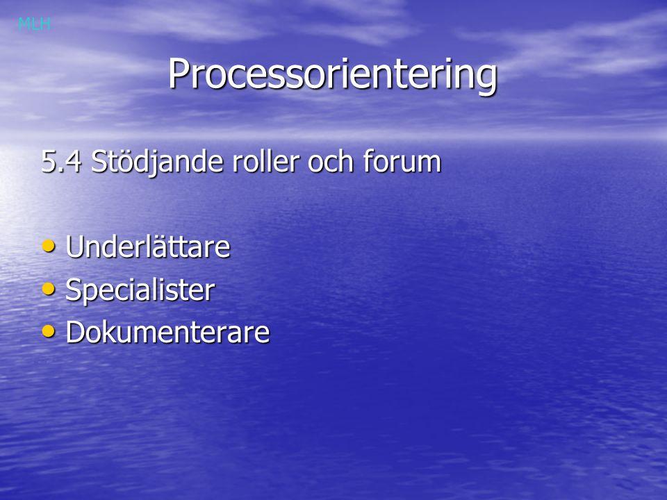 Processorientering Processorientering 5.4 Stödjande roller och forum Underlättare Underlättare Specialister Specialister Dokumenterare Dokumenterare MLH
