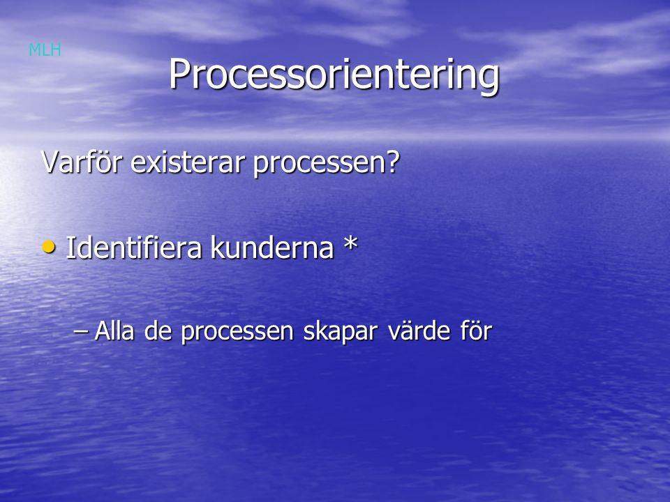 Processorientering Processorientering Varför existerar processen.