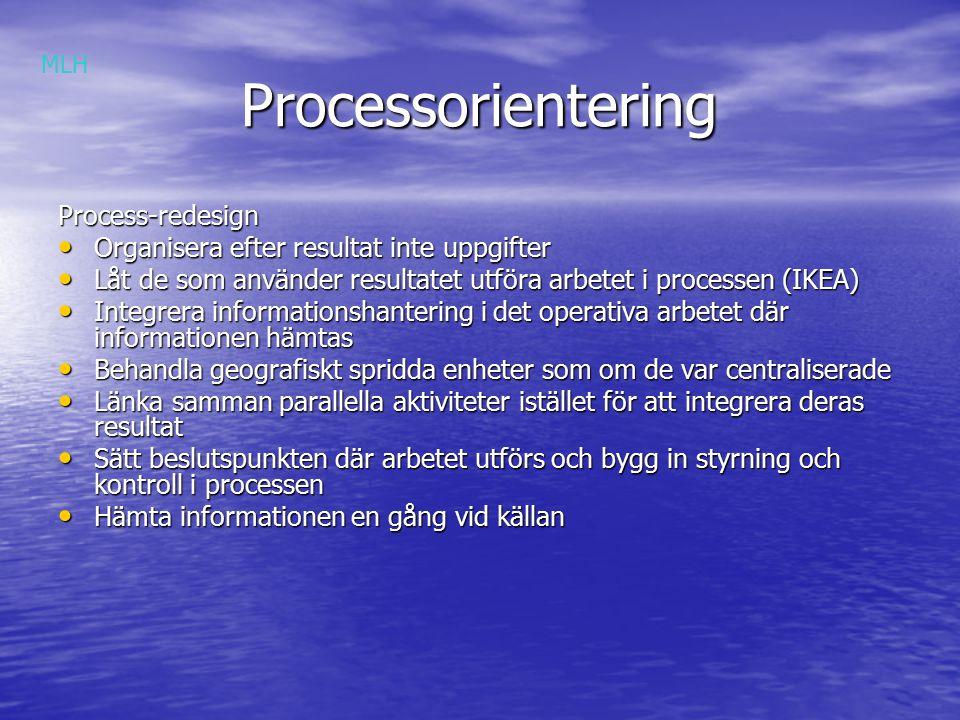 Processorientering Processorientering Process-redesign Organisera efter resultat inte uppgifter Organisera efter resultat inte uppgifter Låt de som använder resultatet utföra arbetet i processen (IKEA) Låt de som använder resultatet utföra arbetet i processen (IKEA) Integrera informationshantering i det operativa arbetet där informationen hämtas Integrera informationshantering i det operativa arbetet där informationen hämtas Behandla geografiskt spridda enheter som om de var centraliserade Behandla geografiskt spridda enheter som om de var centraliserade Länka samman parallella aktiviteter istället för att integrera deras resultat Länka samman parallella aktiviteter istället för att integrera deras resultat Sätt beslutspunkten där arbetet utförs och bygg in styrning och kontroll i processen Sätt beslutspunkten där arbetet utförs och bygg in styrning och kontroll i processen Hämta informationen en gång vid källan Hämta informationen en gång vid källan MLH