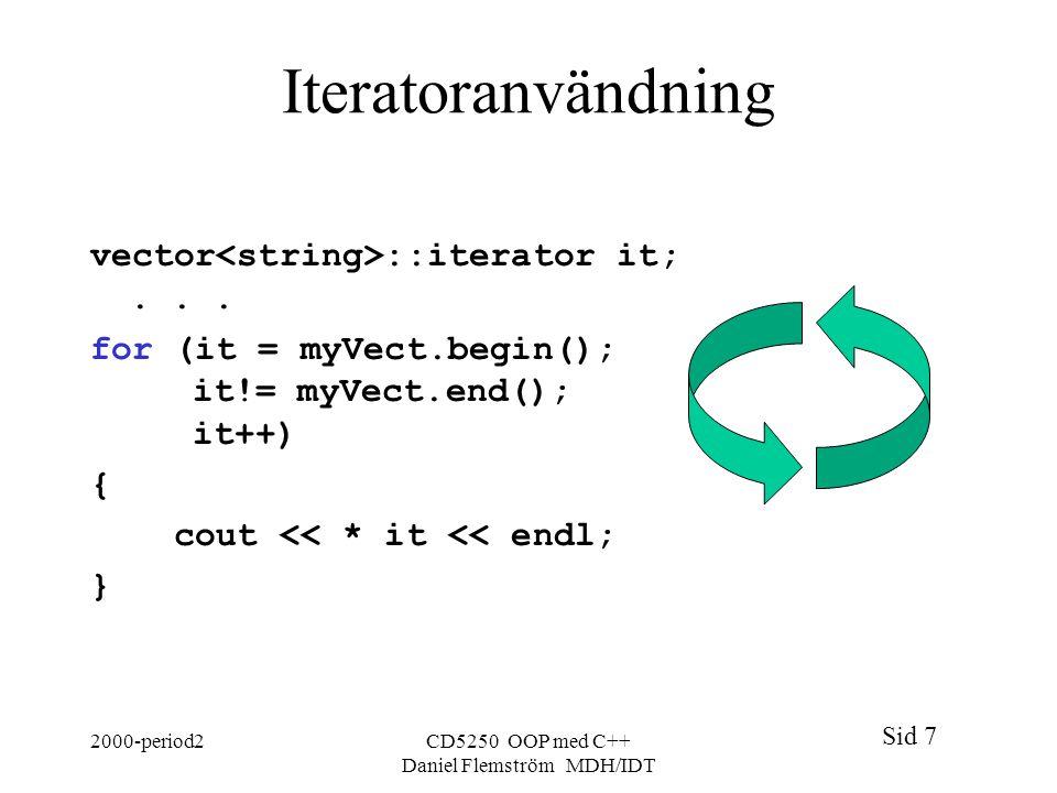 Sid 7 2000-period2CD5250 OOP med C++ Daniel Flemström MDH/IDT Iteratoranvändning vector ::iterator it;...