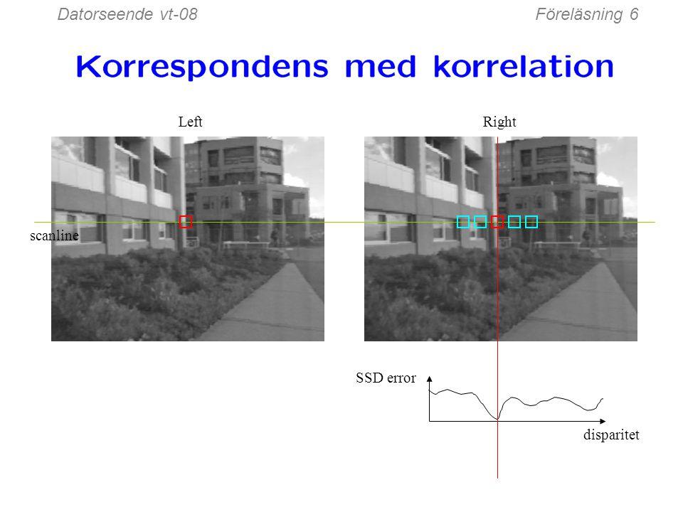 För varje epipolarlinje För varje pixel i vänster bild Jämför med varje pixel på samma epipolarlinje i högra bilden Välj den med minsta matchningskostnad Detta funkar ej bra i praktiken, så: Förbättring: jämför fönster