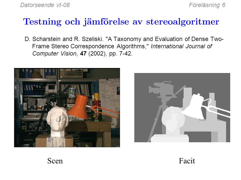 Datorseende vt-08Föreläsning 6 W = 3W = 20 Effekten av fönsterstorlek Vissa algoritmer använder en adaptiv fönsterstorlek (försök med flera storlekar