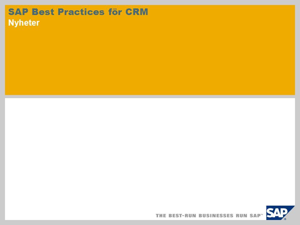 SAP Best Practices för CRM Nyheter