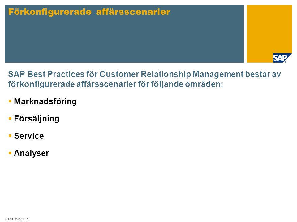 © SAP 2010/sid. 2 SAP Best Practices för Customer Relationship Management består av förkonfigurerade affärsscenarier för följande områden:  Marknadsf