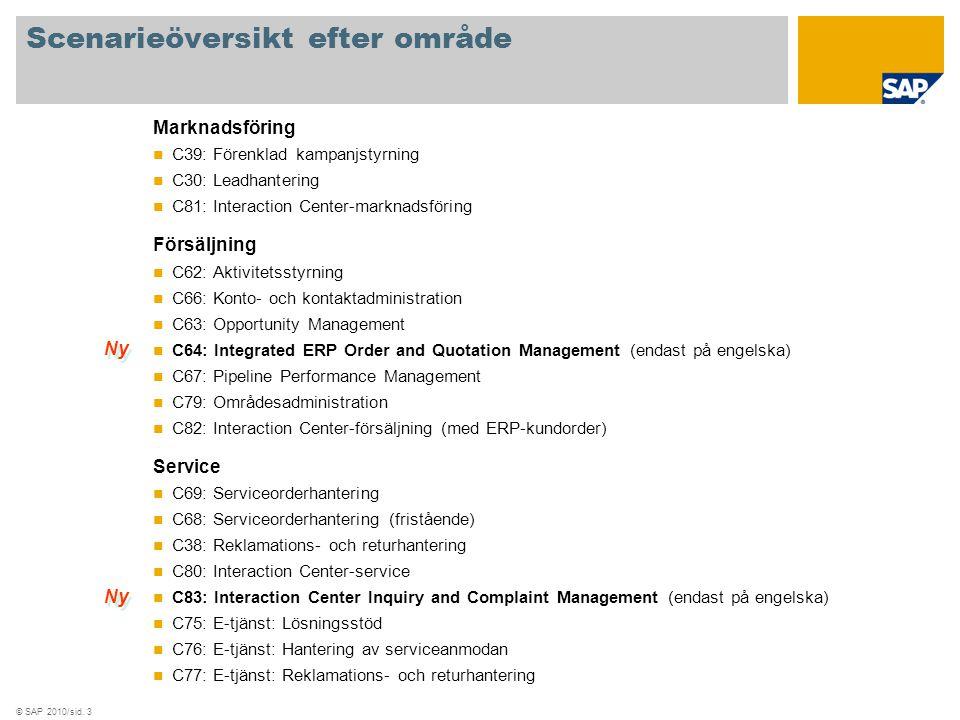© SAP 2010/sid. 3 Scenarieöversikt efter område Marknadsföring C39: Förenklad kampanjstyrning C30: Leadhantering C81: Interaction Center-marknadsförin