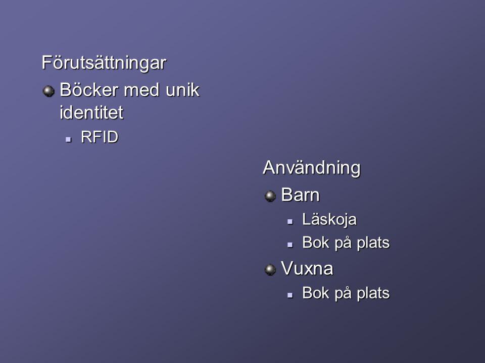 Förutsättningar Böcker med unik identitet RFID RFID AnvändningBarn Läskoja Bok på platsVuxna