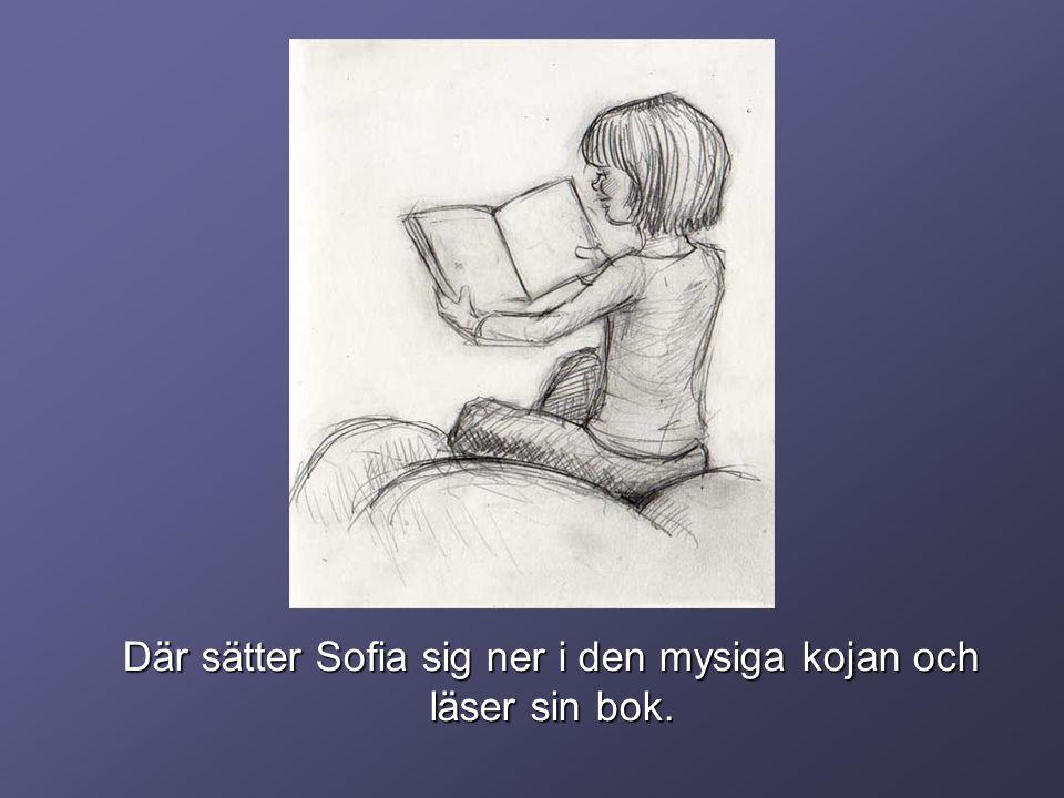 Där sätter Sofia sig ner i den mysiga kojan och läser sin bok.