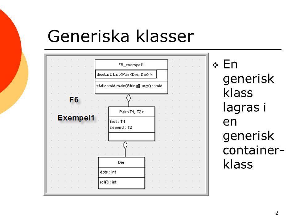 2 Generiska klasser  En generisk klass lagras i en generisk container- klass