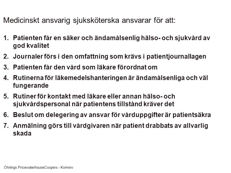 Öhrlings PricewaterhouseCoopers - Komrev Medicinskt ansvarig sjuksköterska ansvarar för att: 1.Patienten får en säker och ändamålsenlig hälso- och sju