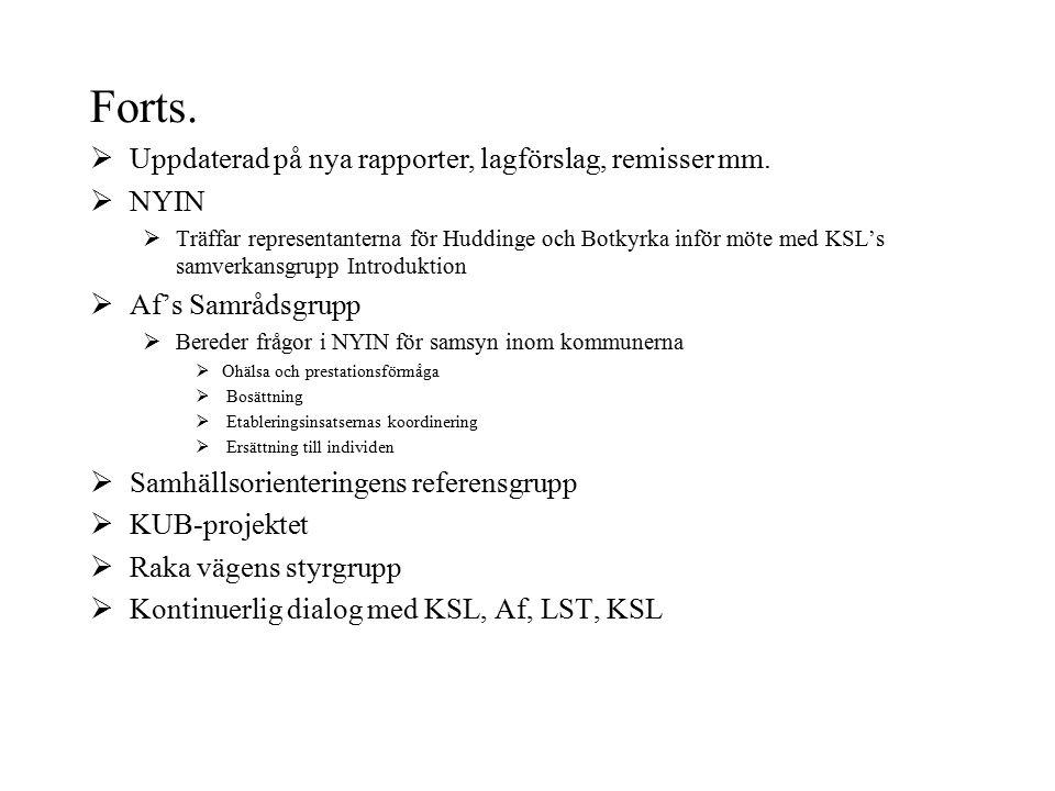 Forts.  Uppdaterad på nya rapporter, lagförslag, remisser mm.  NYIN  Träffar representanterna för Huddinge och Botkyrka inför möte med KSL's samver
