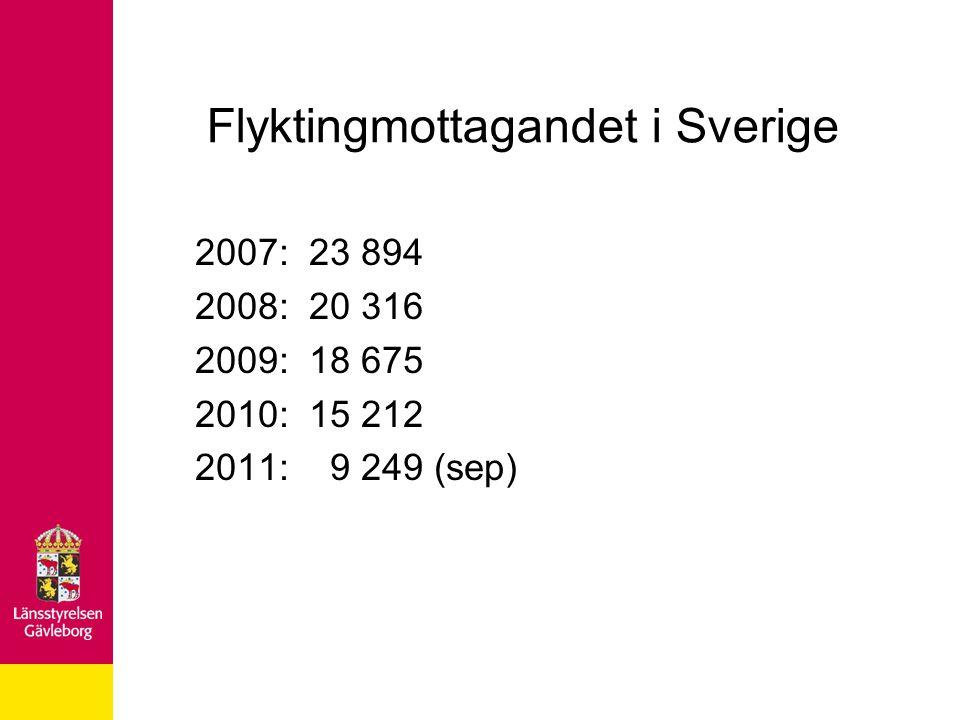 Flyktingmottagandet i Sverige 2007: 23 894 2008: 20 316 2009: 18 675 2010: 15 212 2011: 9 249 (sep)