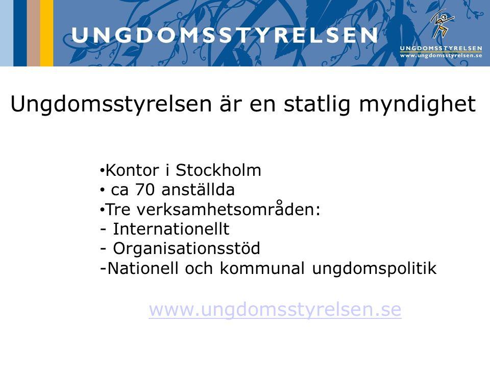 Ungdomsstyrelsen är en statlig myndighet Kontor i Stockholm ca 70 anställda Tre verksamhetsområden: - Internationellt - Organisationsstöd -Nationell o