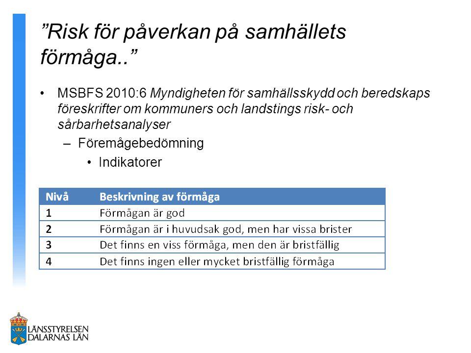 """""""Risk för påverkan på samhällets förmåga.."""" MSBFS 2010:6 Myndigheten för samhällsskydd och beredskaps föreskrifter om kommuners och landstings risk- o"""