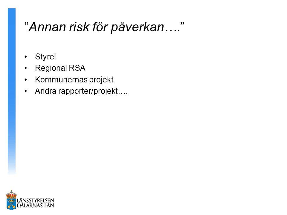 """""""Annan risk för påverkan…."""" Styrel Regional RSA Kommunernas projekt Andra rapporter/projekt…."""