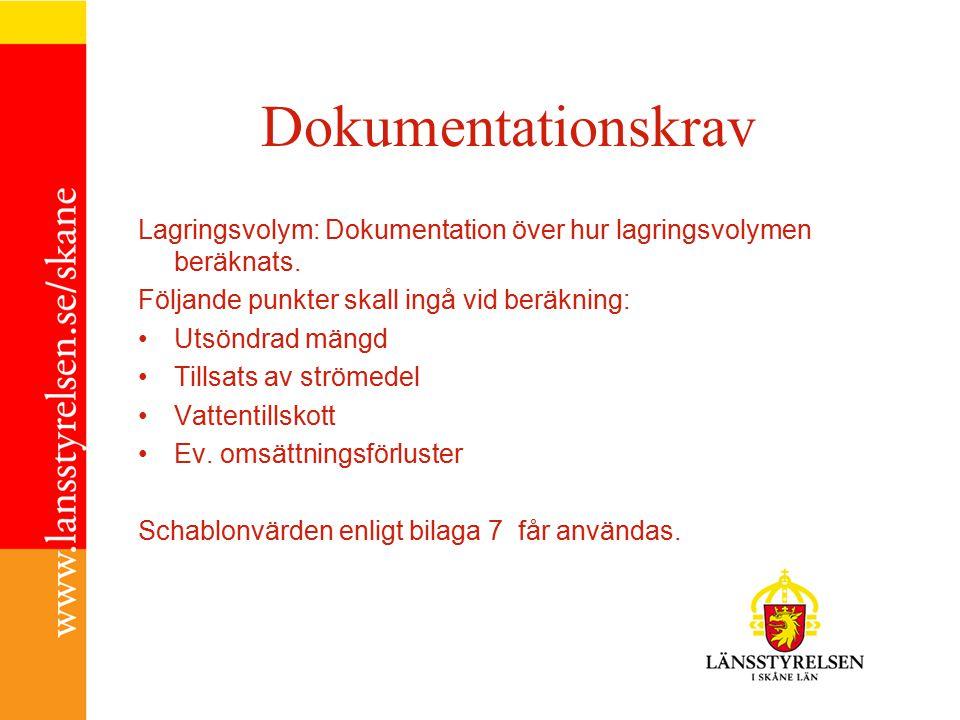 Dokumentationskrav Lagringsvolym: Dokumentation över hur lagringsvolymen beräknats.
