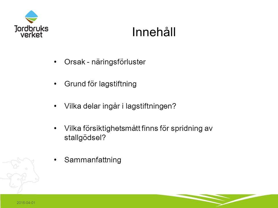 Innehåll Orsak - näringsförluster Grund för lagstiftning Vilka delar ingår i lagstiftningen.