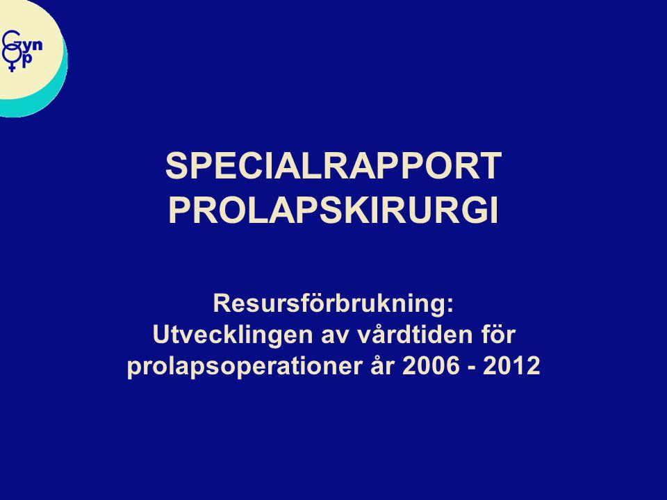 SPECIALRAPPORT PROLAPSKIRURGI Resursförbrukning: Utvecklingen av vårdtiden för prolapsoperationer år 2006 - 2012