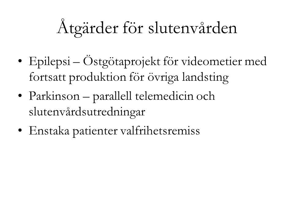 Åtgärder för slutenvården Epilepsi – Östgötaprojekt för videometier med fortsatt produktion för övriga landsting Parkinson – parallell telemedicin och