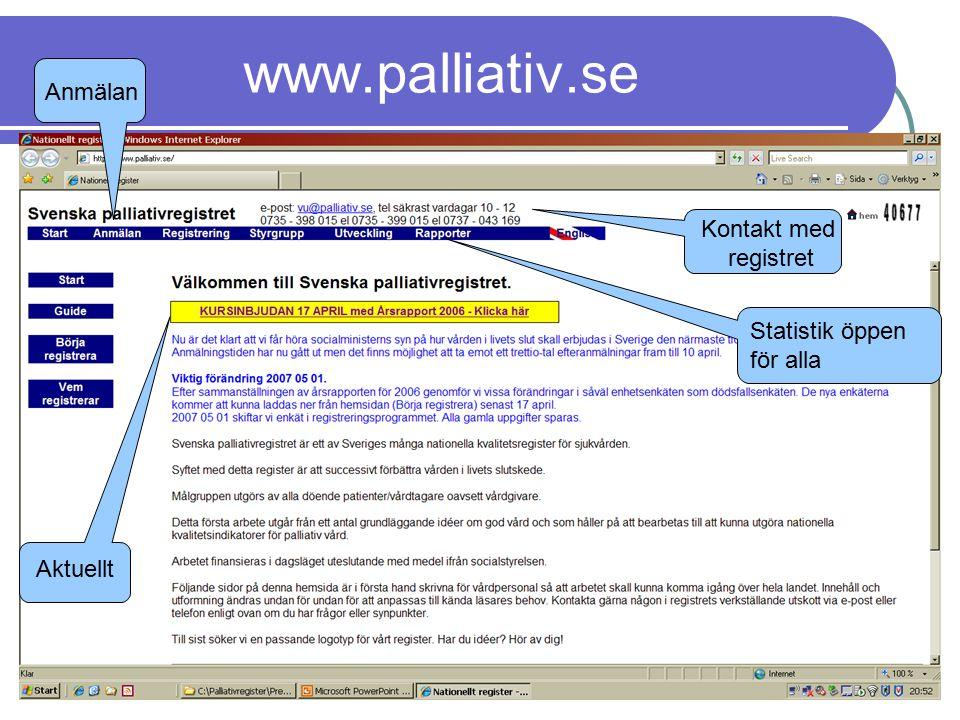 www.palliativ.se Statistik öppen för alla Aktuellt Anmälan Kontakt med registret