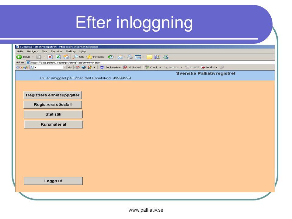 www.palliativ.se Efter inloggning