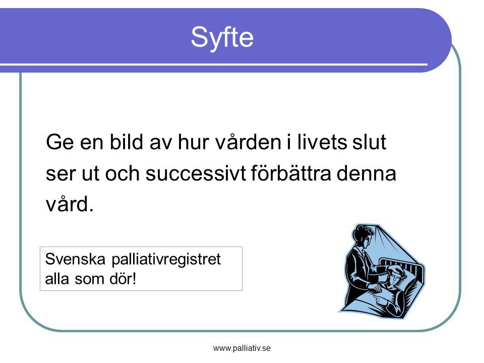 www.palliativ.se Syfte Ge en bild av hur vården i livets slut ser ut och successivt förbättra denna vård. Svenska palliativregistret alla som dör!