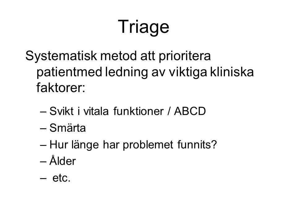 Triage Systematisk metod att prioritera patientmed ledning av viktiga kliniska faktorer: –Svikt i vitala funktioner / ABCD –Smärta –Hur länge har problemet funnits.